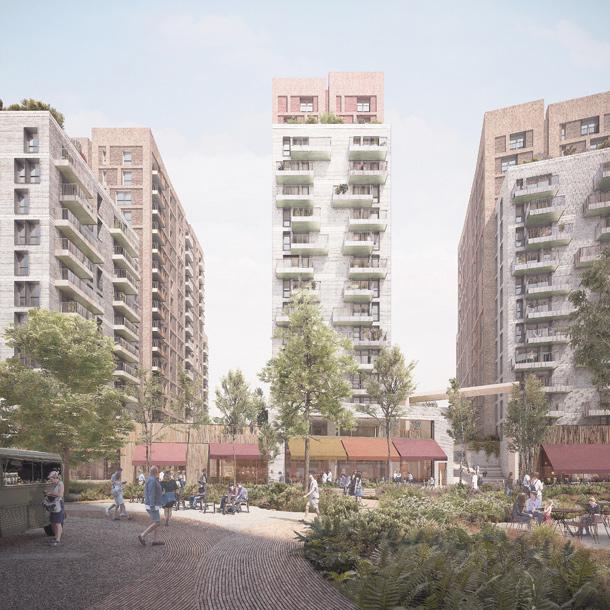The green, communal space of the Landing development - LANTERN