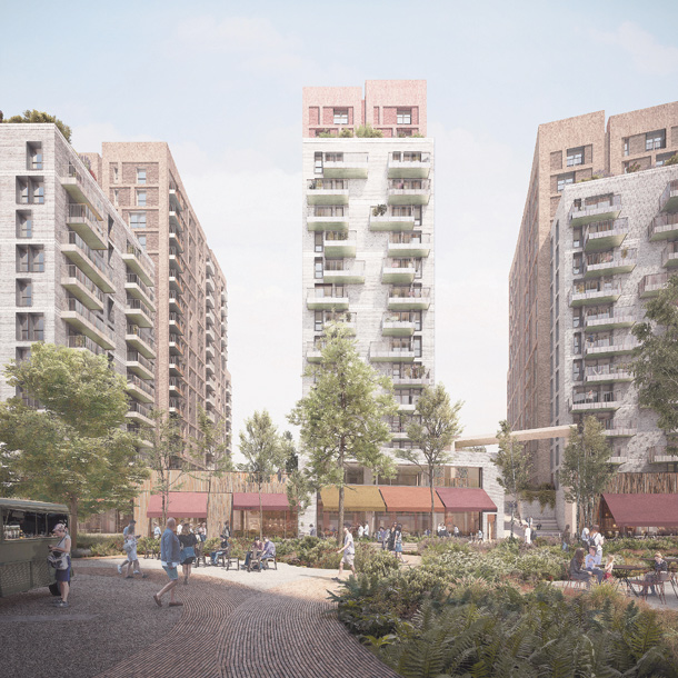 The green, communal space of the Landing development - LANTERN